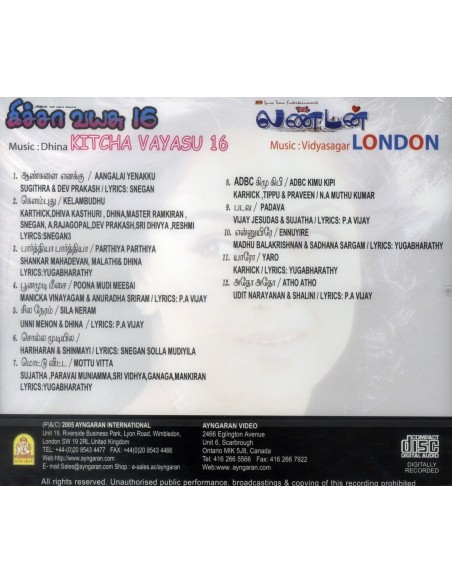 Kicha Vayasu 16 / London (CD)