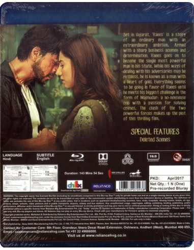 Raees (Blu-Ray) [FR]