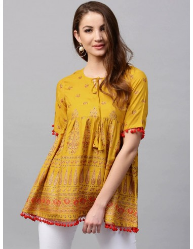 Gerua Mustard Yellow & Red Empire A-Line Kurti