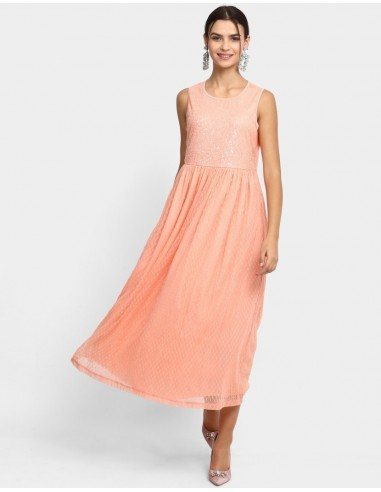 Women Maxi Pink Embroidered Dress - Ann Springs