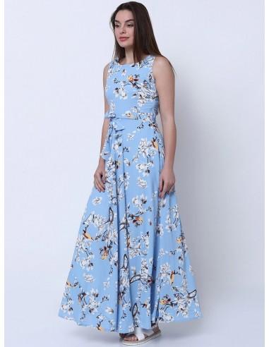 Women Blue Printed Maxi Dress - Tokyo Talkies