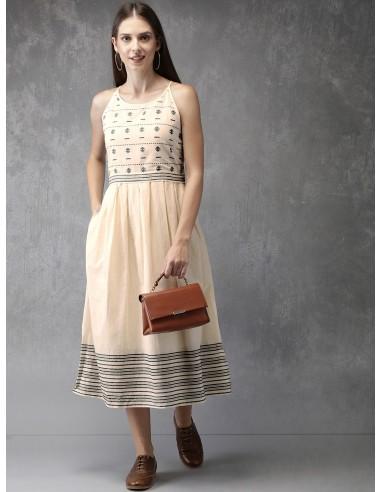 Cream-Coloured Striped A-Line Dress - Anouk