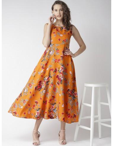 Women Orange & Grey Floral Print Maxi Dress - U&F