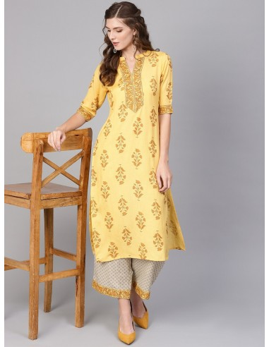 Women Yellow & Beige Printed Kurta with Palazzos - Libas