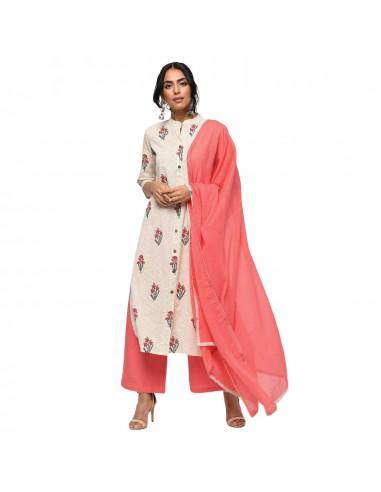 Cotton Kurta Palazzo & Dupatta Set - Raj Mandir Fabrics