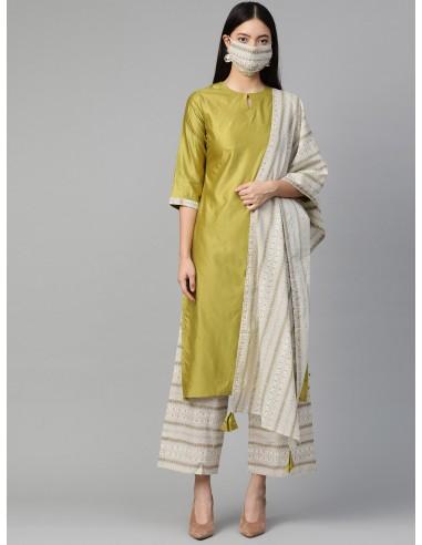 Olive Green & Off-White Solid Kurta Set with Dupatta & Mask - Indo Era